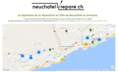 Nouveauté pour Neuchâtel la carte interactive pour trouver son réparateur.